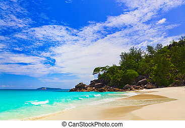 Tropical beach at island Praslin, Seychelles - vacation...