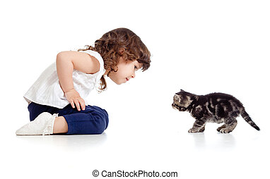 little kid and cat looking at each other on white background