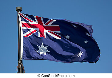 Australian Flag - The Australian Flag with blue sky...