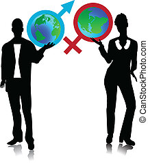 Man and the woman holding the globe - Symbols, the Man and...