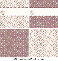 Valentine seamless patterns with he - Four valentine...