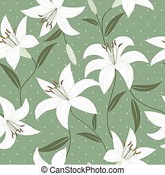 Seamless wallpaper with lily flower - Seamless vector...
