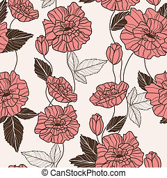 Seamless vector pattern with poppy