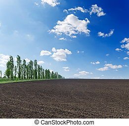 black plowed field under blue sky