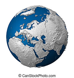 Artificial Earth - Europe. White lands and blue oceans....