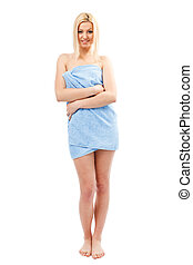Blonde woman in spa towel - Beautiful young blond woman...