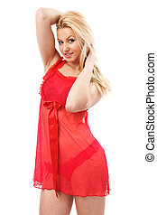 Blonde lady in red negligee - Gorgeous young blond woman in...