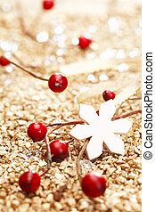 One white star and some red decoration for christmas. Whole...