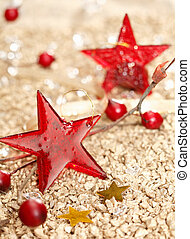 Red Christmas stars - Red vitreous Christmas stars and two...