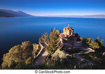 Jovan Kaneo Church in Morning Light at Lake Ohrid,...