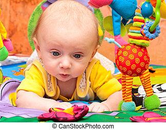 bebê, jogos, bebê, ginásio