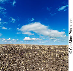 black cultivated field and blue sky