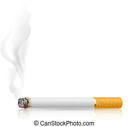 Cigarette burns Illustration on white background