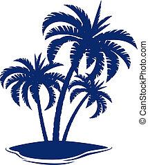 Tropical Island Illustration on white background