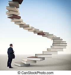 book step - young businessman and 3d book stair