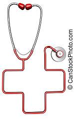 Cross-shaped stethoscope. Isolated on white background