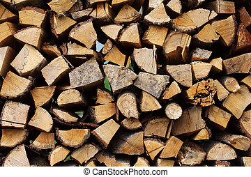 Stacked wood - Stacked chopped wood for the winter or...