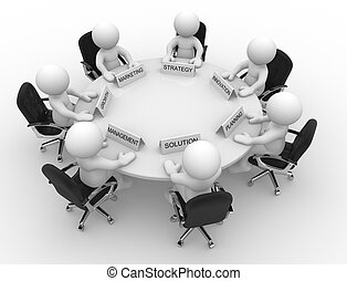 Conference table - 3d people - men, person to conference...