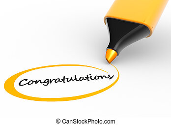 Congratulations - Marker and word congratulations 3d render...