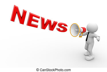 News concept - 3d people - man, person and a megaphone. News...
