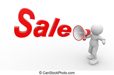 Discounts - 3d people - man, person with a megaphone and...