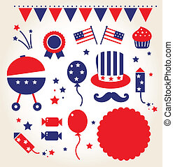 Independence day retro icons vector - 4th of July icon...