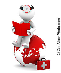 Doctor with a book sitting on red earth globe
