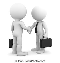 Business colleagues shaking hands. Isolated on white...
