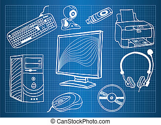 Blueprint of computer hardware - peripheral devices, sketch...