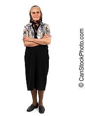 Senior woman full length portrait - Full length portrait of...