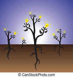 Concept of idea plants growing in fertile mind - Concept of...
