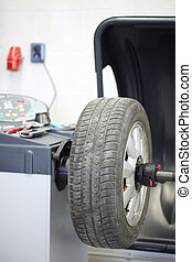 Wheel balancing machineFocus on the wheel