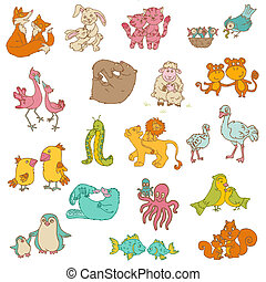 Baby Animals with Moms - for your design and scrapbook -...