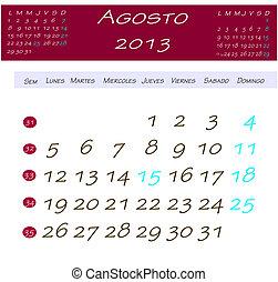 Calendário, agosto,  2013