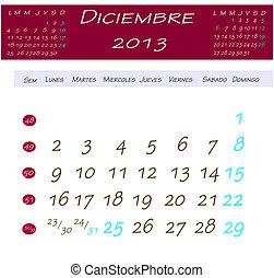 Dezembro, Calendário,  2013