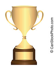 gold trophy isolated over white background vector...