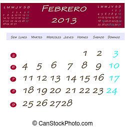 Calendário, Fevereiro,  2013