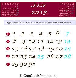 Calendário, julho,  2013