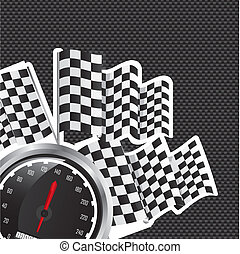 speed racing with checkered flag over black background...