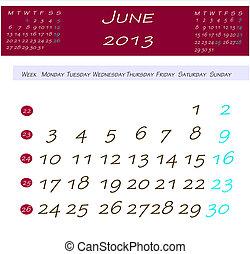 Calendário, Junho,  2013
