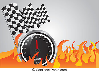 speed racing with fire and checkered flags vector...