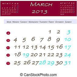 Calendário, Março,  2013