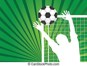 goalkeeper - silhouette goalkeeper with soccer ball over...