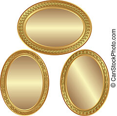 golden oval background with ornaments and copy space