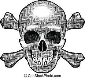 Skull and crossbones figure Illustration on white background...