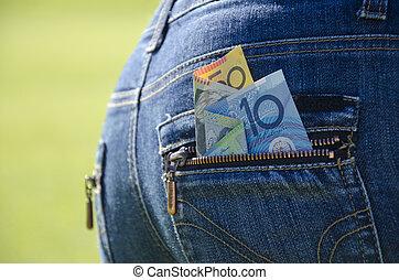 Dinheiro, piando, saída, Calças brim, bolso