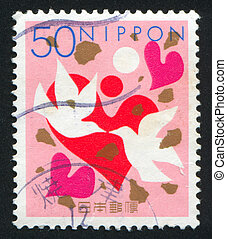 Hearts and Doves - JAPAN - CIRCA 1999: stamp printed by...