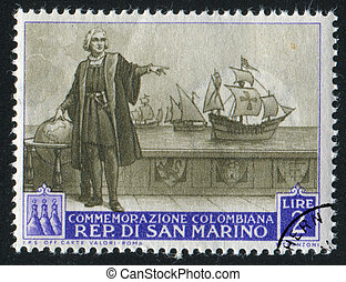 Christopher Columbus - SAN MARINO - CIRCA 1952: stamp...