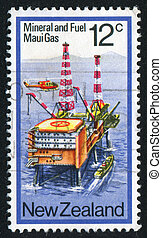 Gas Drilling Platform - NEW ZEALAND - CIRCA 1978: stamp...