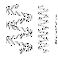musical notes staff set on white background